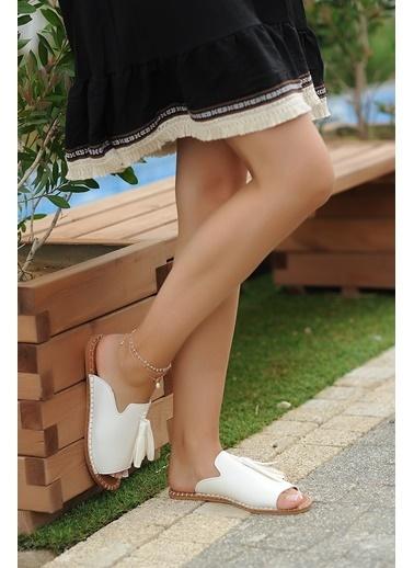 Pembe Potin A888-19 Kadın Terlik A888-19 Beyaz